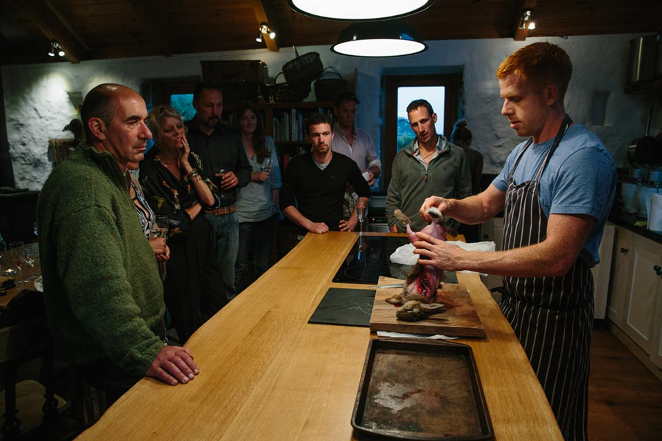 Photograph of a rabbit being butchered at Fat Hen Cookery School in Cornwall